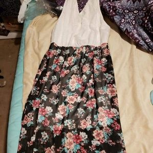 Long high low dress, Floral, lace